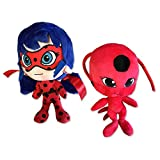 SET de 2 Plushies Couple MARINETTE et Kwami TIKKI 24cm de Cartoon MIRACULOUS LADYBUG