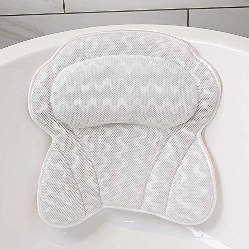 Hailong Non-slip Bath Pillow, Bathtub Spa Cushion | 6 Strong Suction Cups | Comfortable Head Rest And Neck Back Shoulder Support | Quick Dry Air Mesh Bath Pillow | Fits Any Size Tub
