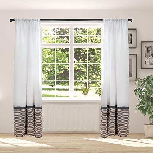 Hall & Perry Window Curtain (2 Panels) Modern Farmhouse Style with Rod Pocket - White with Black and Taupe Stripes for Living Room or Bedroom, 50 x 84 inch, Set of 2