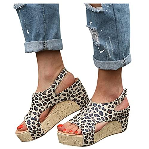 Sandalias Mujer Verano Nuevo 2021 Moda Elegante Zapatos de plataforma Cuña Leopardo Zapatillas de de Boca de Pescado Playa Sandalias de Punta Abierta casual Fiesta Bohemia Tacones Altos Sandalias