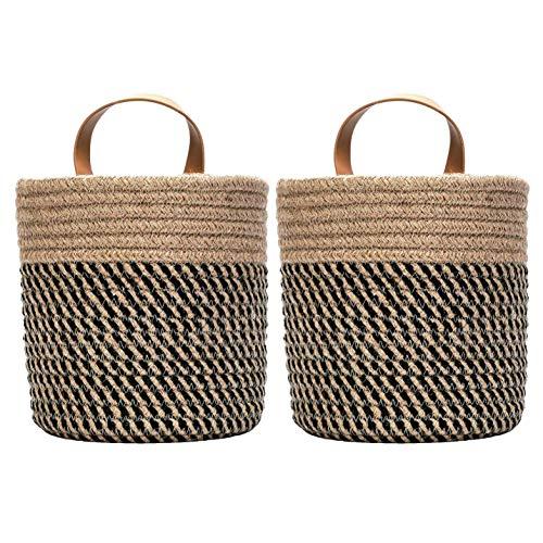 Camisin Paquete de 2 cestas de almacenamiento para colgar en la pared, pequeñas cuerdas de algodón tejidas para armarios, cestas de almacenamiento para plantas