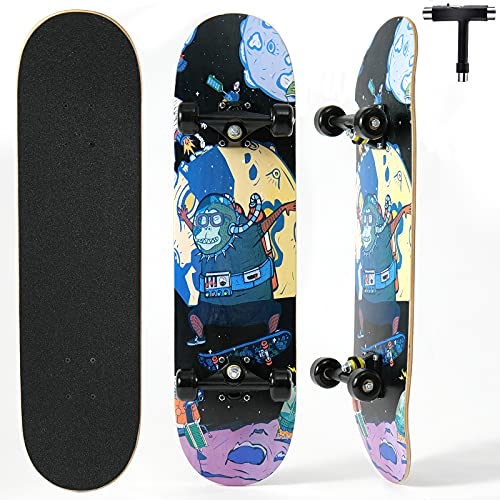 Completo Skateboard para Principiantes,Achiyway 80x20cm Skateboard 7 Capas Monopatín de Madera de Arce con rodamientos ABEC-11 Tabla de Skateboard para Niñas Niños Adolescentes Adultos (Espacio)