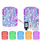 HAHOME Connectable String Lights, 80FT Rope 240 LEDs Color Changing Waterproof Fairy...