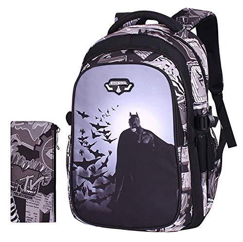 GHDE& 2St Batman Gedruckt Schüler Schultasche Set mit Schulrucksäcke und Mäppchen für Alter 7-12 Jungen Mädchen Kinder,M