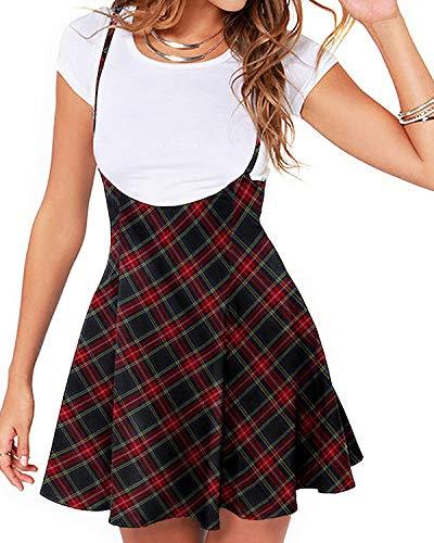 YOINS Falda de tirantes para mujer, cintura alta, acampanada, casual, impresa, mini falda plisada