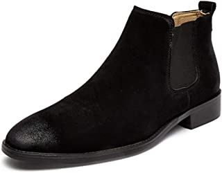 QinMei Zhou Retro Ankle Boots for Men Chelsea Boot Pull on Suede Pointed Toe Block Heel Burnished Style Elastic Sides (Fleece Lined Optional (Color : Black(Fleece Inside), Size : 6.5 UK)