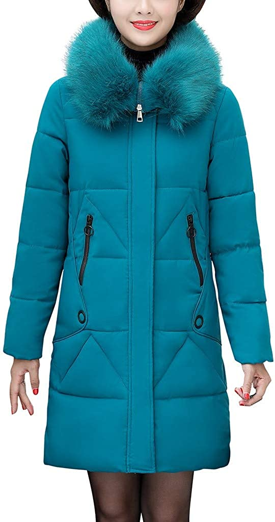 Long Jackets for Women, NRUTUP Long Parka with Faux Fur, Winter Jacket with Hood, Elegant Office Work Warm Jacket