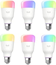 6 Pack Yeelight Smart Light Bulb,Multicolor,Dimmable,App & Voice controll Wi-Fi Smart Color Changing Light Bulb,Alexa Compatible,no hub Required,A19 60W Equivalent Smart Home RGB LED Bulbs