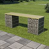 Outdoor Seating Gabion Bench 120 cm Galvanised Steel and Pinewood