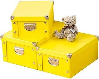 VIKMKM 3PCS Caisse de Rangement en Papier Carton Empilables, Pliable Boîte de Rangement avec Couvercles pour Maison, Burea...