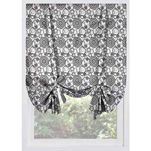 LCGGDB Grey and White Blackout Tie Up Shades Panels,Moire Shape Circles Room Darkening Rod Pocket Curtains Balloon Shades for Small Windows, Doors, French Doors, Kitchen Windows,32'x55'