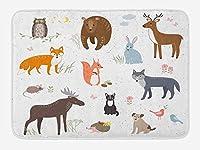 HiYash キャビンバスルームマット春牧草地動物ナイーブウッドランド動物ベビールーム保育園40x60cm装飾リビングルームコーヒーテーブルマットオフィスカーペット