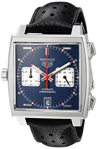 TAG Heuer Men's 'Monaco' Swiss Automatic Stainless Steel and Leather Dress Watch, Color:Black (Model:...