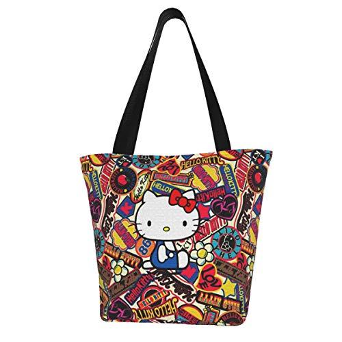 Hello Kitty Damen Multifunktions Große Kapazität Schultertasche Einkaufstasche mit Reißverschluss Handtasche Strandtasche Laptoptasche Tablet Tasche