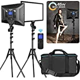 IVISII 2 Pack Dimmable Bi-color 480 LED Video Light Photography Lighting Kit, CRI+97 3000-8000k LED Panel with Wireless Remote Adjustable Light Stand, for Studio Video Shooting Live Stream YouTube