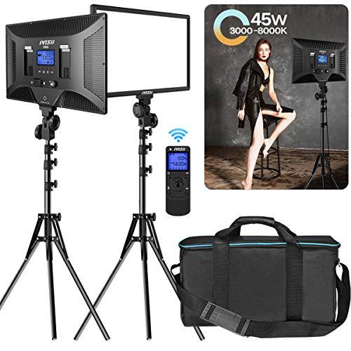 IVISII 2er Pack Dimmbares Zweifarbiges 480 Led Videolicht Foto Beleuchtungskit, CRI+96 3000-8000K Led-Panel mit Kabellosem, Fernverstellbarem Lichtstativ Für Studio-Videoaufnahmen Live-Stream