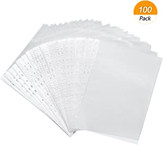 Meetory 100 Packs A4 File Punched Pockets,Clear Wallet Sleeves,Large Extra Folders