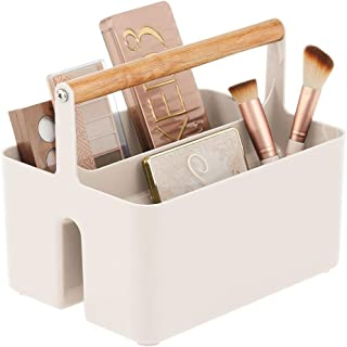 mDesign Plastic Makeup Storage Organizer Caddy Tote - Divided Basket Bin with Wood Handle for Eyeshadow Palettes, Nail Pol...