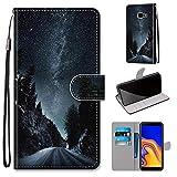 Miagon Flip PU Leder Schutzhülle für Samsung Galaxy J4 Plus,Bunt Muster Hülle Brieftasche Case Cover Ständer mit Kartenfächer Trageschlaufe,Nacht Straße -