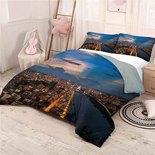 Urban Bedding Sets King, Microfiber Sheet Set 3 Piece Bed Sheets City Night Bridge Buildings Home Decoration Bedding - King 104'x90'