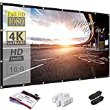 Mdbebbron 150 inch Projection Screen 16:9 Foldable Anti-Crease Portable Projector Movies Screen for Office Home Theater Outdoor Indoor Support Double Sided Projection Light