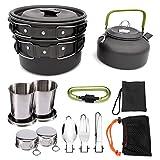 TANGIST Kit de Utensilios Cocina Camping Juego de Cocina Al Aire Libre de Aluminio Antiadherente de 9 Piezas para 2-3 Personas con Picnic Estufa Quemador Excursión Escalada Senderismo (Color : Black)