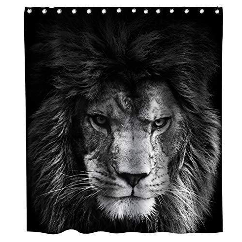 Cool African Animal Lion Shower Curtain Wildlife Lion King Head Theme Fabric Kids Bathroom Decor Sets with Hooks Waterproof Washable 72 x 72 inches Black Grey