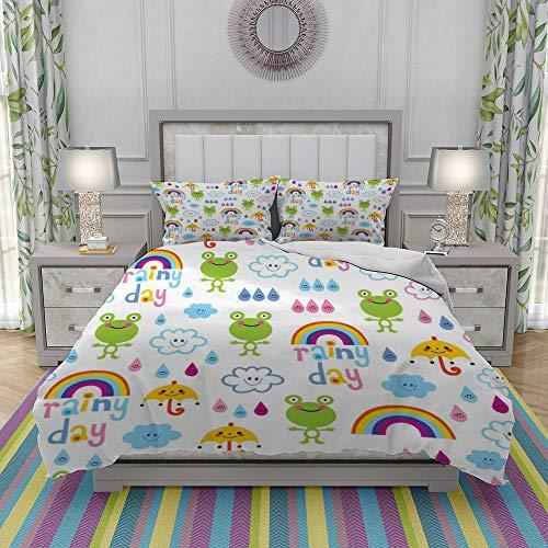 REIOIYE Duvet Cover Set-Bedding,Rainy Day Seamless Pattern,Quilt Cover Bedlinen-Microfibre 200x200cm with 2 Pillowcase 50x80cm