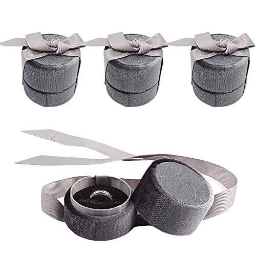 SMEJS 3 PCS Joyero Organizador Cajas de joyería de pana Estuche redondo vintage Elegante Organizador de almacenamiento con lazo de seda Regalo para pendientes Anillos colgantes Aniversarios Na