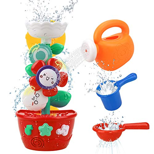 GOODLOGO Flower Bath Toys Bathtub Toys for Toddlers Babies Kids 1 2 3 Year Old Girls Boys Gifts with 1 Mini Sprinkler 2 Toys Cups Strong Suction Cups Gifts Ideal with Color Box