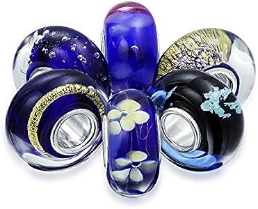 Cristal De Murano Blanco Azul Mezcla De 6 Core Abalorio Separador El Encanto Encaja Pulsera Europea Mujer Adolescente