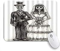 PATINISAマウスパッド シュガースカルゴシックラバースケルトンロマンチックな結婚恐ろしいハッピーハロウィンデッドスケッチアート ゲーミング オフィ滑り止めゴム底 ゲーミングなど適用 用コンピュータ