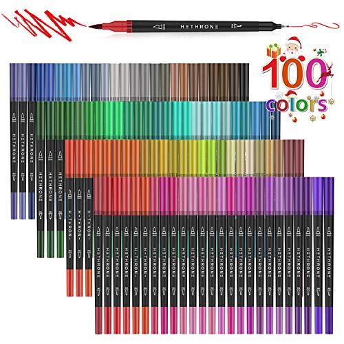 Hethrone de 100 colores con doble punta de pincel y rotulador fino de punta 0.4 PA37
