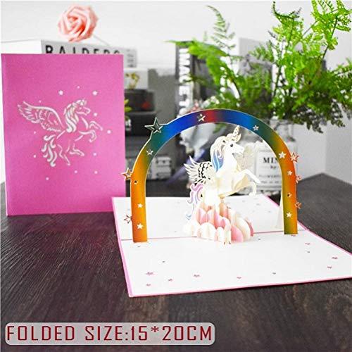 HUDETIE 3D Leuke Dier Pop Up Kaarten Gelukkig Verjaardagskaart voor Baby Douche Vrouw Man Vrouwen Cartoon Pauw Vogelkooi Vis Hond Eenhoorn