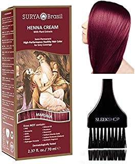 Sponsored Ad - Surya Brasil All Natural HENNA Hair Color CREAM Plant Extracts, Semi-Permanent for Grey Coverage (with Brus...
