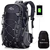 Meisohua all' Aperto Alpinismo Zaino Zaino per Uomini e Donne Campeggio Escursione Impermeabile Bag per Viaggiare Trekking con parapioggia, Uomo USB - Nero