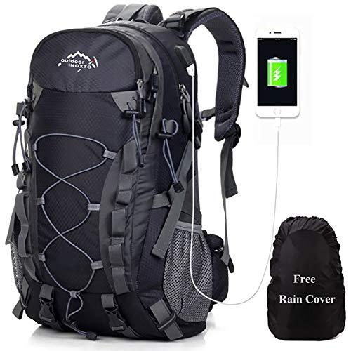 Meisohua Wasserdichter Rucksack 45L Leicht, Erwachsene Wanderrucksack Manner Frauen Outdoorrucksack für Klettern Camping Reiten Reisen Freizeit (USB Schwarz)