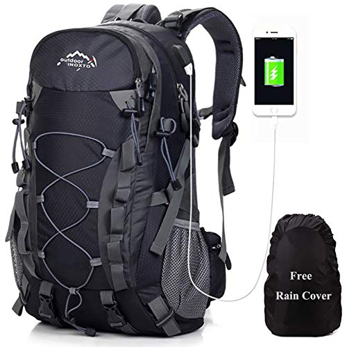Meisohua Deporte al Aire Libre, 40L Viaje Mochila Trekking Senderismo Excursionismo Alpinismo Escalada Camping para Hombre Mujer (Negro_USB)