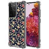 UZEUZA - Custodia trasparente per Samsung Galaxy S21 Ultra Flower Wallpaper Pattern per ragazze e donne