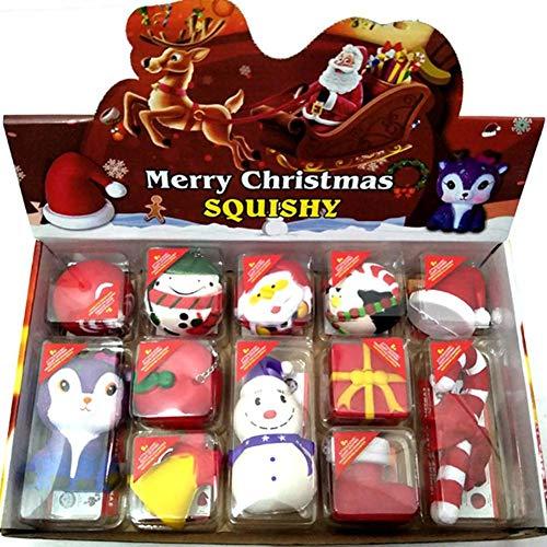 Unique WElinks Merry Christmas Squishy Geschenk-Box, 12 Stück, Bezaubernde Weihnachtsmann-Anhänger, Schneemann-Charms, weiches PU, Squeeze Anti-Stress, Weihnachten, lustige Geschenke 1#