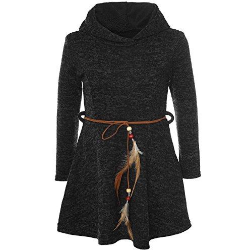 BEZLIT Mädchen Kleid Kostüm Kapuze Peticoat Festkleid Langarm 21578 Schwarz Größe 104