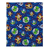 Disney Toy Story 4 - Blue, Green, Yellow & Red Super Soft Plush Toddler Blanket, Blue, Green, Yellow, Red