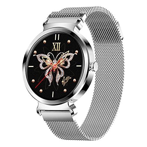 QFSLR Smartwatch Mujer, Reloj Inteligente Impermeable IP67 con Monitor De Frecuencia Cardíaca Monitor De Presión Arterial Ciclo Menstrual Femenino Seguimiento del Sueño Android Y iOS,Plata