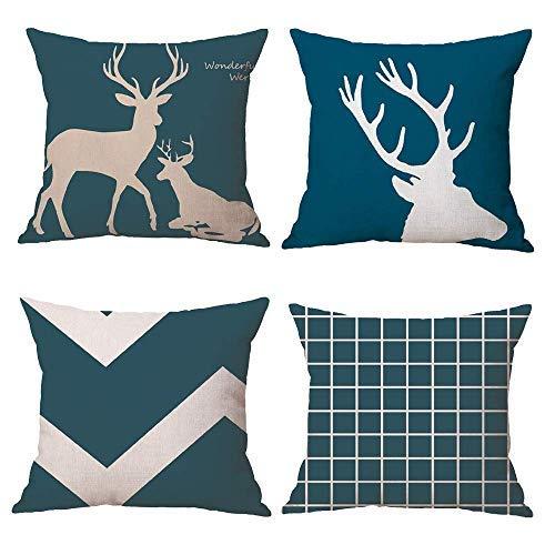 Funda de almohada decorativa de lino con diseño geométrico de ciervos de animales GIF de 45,7 cm x 18, juego de 4