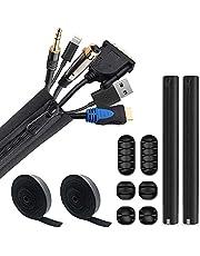 3 stuks kabelbeheermouwen, 6 stuks kabel wandklemmen, 2 rollen kabelbinders, kabelbeheerkit kabel netjes mouwen met ritsen draad protector organizer voor thuiskantoor elektronica PC TV laptop