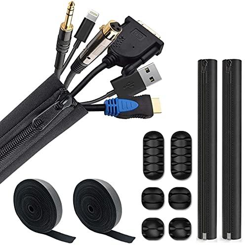 Mangas de gestión de cables de 3 piezas, Clips de pared de...