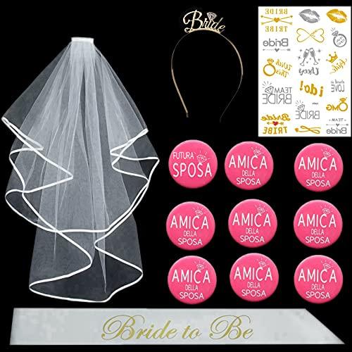 MKISHINE Kit de 13 piezas de despedida de soltera + tiara + velo+tatuaje + broche para novia decoración futura novia decoración para despedida de soltera y velo de boda