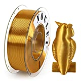 Noulei Filament PLA pour imprimante 3D 1.75 mm, Shiny 3D Printing Filament Silk GOLD Bobine 1kg
