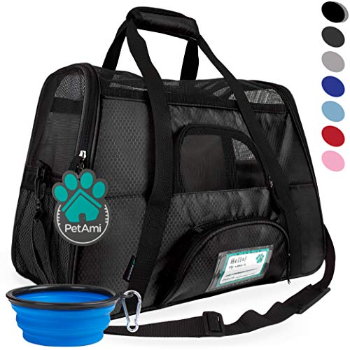 PetAmi Premium Airline Approved Soft-Sided Pet Travel Carrier | Ideal for Small - Medium Sized Cats, Dogs, and Pets | Ventilated, Comfortable Design with Safety Features (Small, Black)