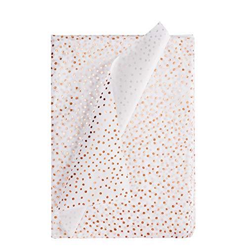 RUSPEPA Geschenkpapier Seidenpapier - Gold Metallic Dots Seidenpapier für Heimarbeit Bastelarbeit Geschenkverpackung - 50 X 70 cm - 24 Blatt